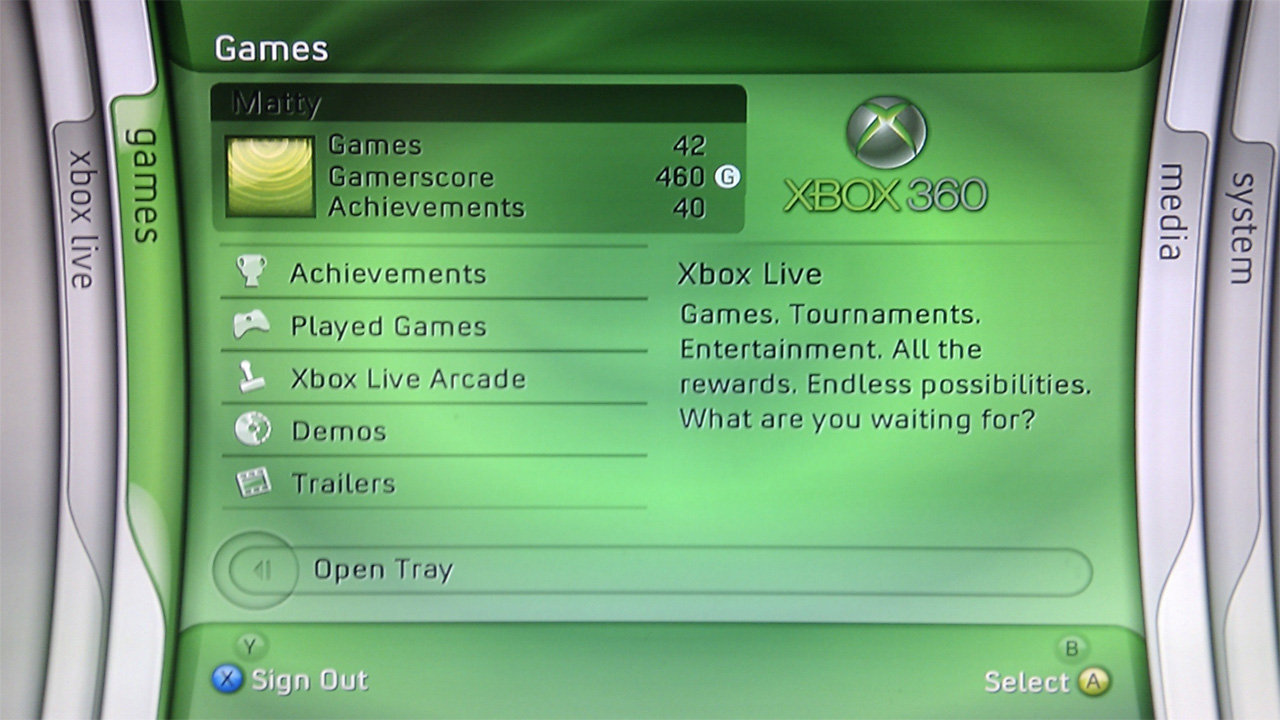 Xbox 360 Blade Dashboard main screen